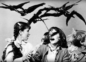 Girls being attacked from Alfred Hitchcock