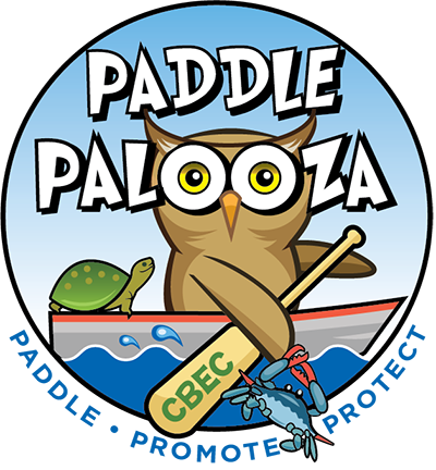 Paddlepalooza logo with owl kayaking